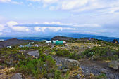 Camp with heli landing port at hte Mount Kilimanjaro trail — Stock Photo