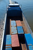 Ship on river transports container — Stock Photo