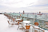 View to skyline of Frankfurt from snow covered skyscraper platf — Stock Photo