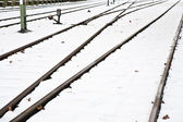 Snowbound rails in winter — Stock Photo