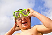 Boy has fun at the beach — Stock Photo