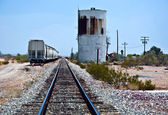 Railroad crossing at route 95 near the village Vidal — Stock Photo