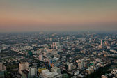 Aerial view over Bangkok in sunset — Stock Photo