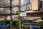Signs for tourists to show way to main attractions of Bangkok — Stock Photo