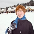 Boy with red hair enjoying snow — Stock Photo #5640795