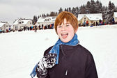 Boy with red hair enjoying the snow — Stock Photo