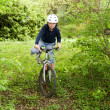 Постер, плакат: Young boy with mountain bike on tour