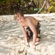 Happy young boy enjoys the beach — Stock Photo #5656526