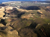 Aerial of Lanzarote with wind power plant — Stock Photo