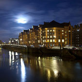 Speicherstadt at night in Hamburg — Stock Photo