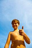 Happy boy at the beach — Stock Photo