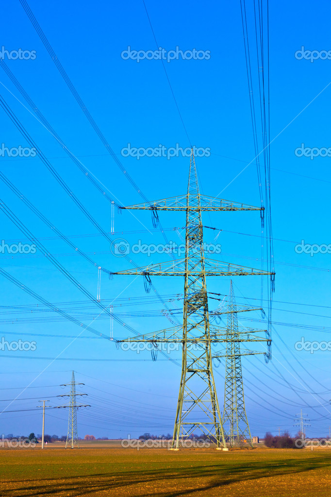 High voltage tower on a background of the sky  Stock Photo #5652760