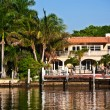 Beautiful houses downtown at the waterfront Miami - Stock Photo
