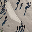Walking in a pedestrian area seen from birds view, lookin — Stock Photo