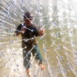 Cute child has a lot of fun in the Zorbing Ball — Stock Photo #5666903