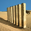 5 pillars of moon temple near Marib, Yemen - Stock Photo