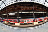 Trainstation in Wiesbaden, glass of roof gives a beautiful harmonic pattern — Stock Photo