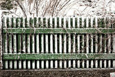 Fence in winter with snow — Stok fotoğraf