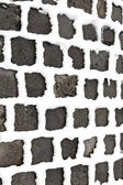 Detail of cobble stone paveway in winter with snow — Stock Photo