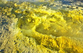 Yellow sulphur at the volcano on the island volcano in Italy — Stock Photo