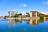 Houses at the canal in south Miami — Stock Photo