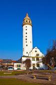 Berömda medeltida hoechster schlossturm i frankfurt — Stockfoto