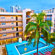 Appartment resort with pool in late evening — Stock Photo #5671110