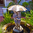 Fountain with water from an umbrella with kids as fountain muzzl — Stock Photo #5671773
