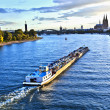Freight ship on river Rhine by Cologne — Stock Photo #5672904