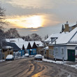 Stock Photo: Village of Grinzing in early morning light in Wintertime