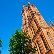 Famous Markt Kirche in Wiesbaden, a brick building in neo-Gothic — Stock Photo