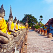 Beautiful statue of Buddhas in temple Wat Yai Chai Mongkol — Stock Photo