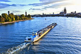Freight ship on river Rhine by Cologne — Stock Photo