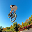 Boy going airborne with his dirt bike — Stock Photo #5680119