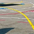 Marks on apron for aircraft orientation - Stock Photo