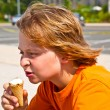 A young boy eating a tasty ice cream — Stock Photo #5689255
