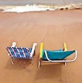 Beach with two chairs for relaxing — Stock Photo
