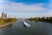 Freight ship on river Main direction Mainz — Stock Photo