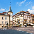 Street view of meran italian alps town - Stock Photo