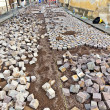 Way of cobble stone under construction — Stock Photo