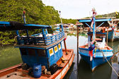 Colorfol Fisherboats in a small village — Stock Photo