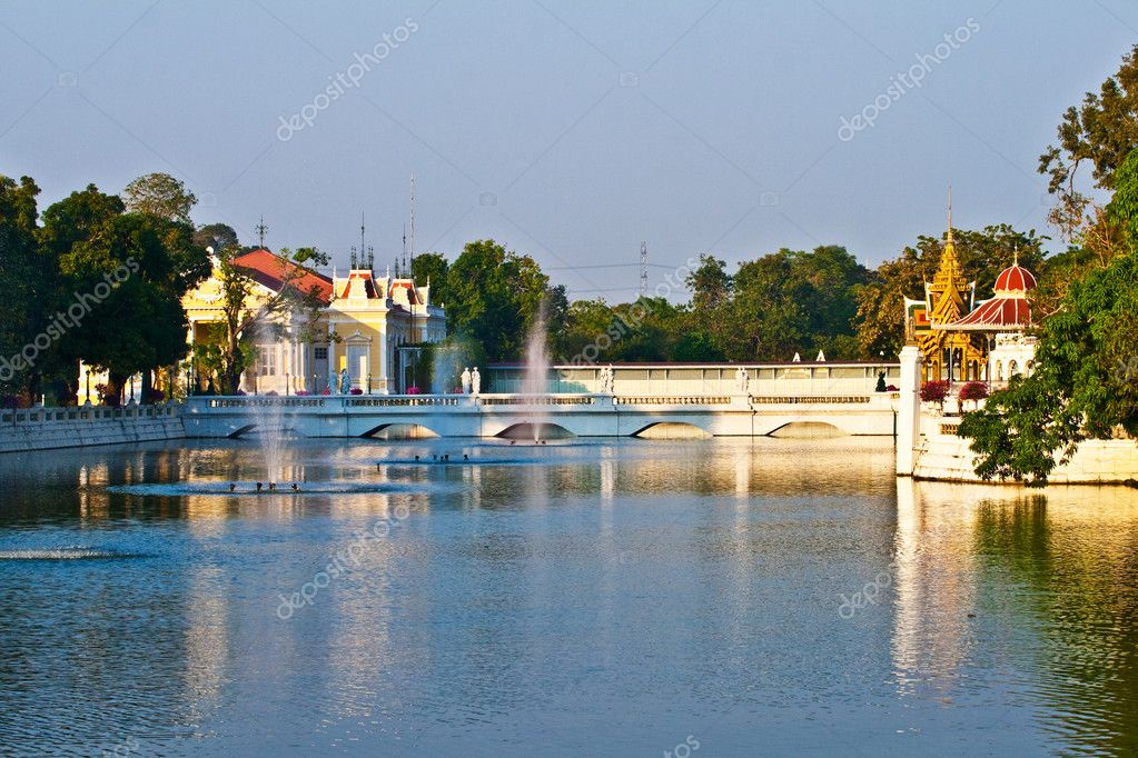 Bang Pa-In Aisawan, artificial lake with bridge and temple in Thipya-Art  at the Royal Summer Palace near Bangkok, Thailand  Stock Photo #5697891