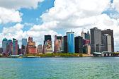 панорама города нью-йорка с манхэттен над хадсон — Стоковое фото