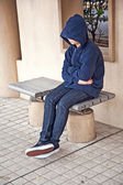 Boy is freezing in the cold ugly weather — Stock Photo