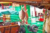 吊船屋顶干在太阳上的鱼 — 图库照片
