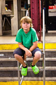 Portrait of a cute boy in the subway — Stockfoto