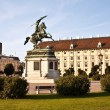 horse and rider statue of archduke karl in vienna at the heldenp — Stock Photo #5778659