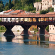 The old wooden bridge spans the river brenta at the romantic vil - 