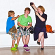 Family has fun in the museum — Stock Photo