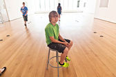 Boy inside the Museum of modern — Stock Photo